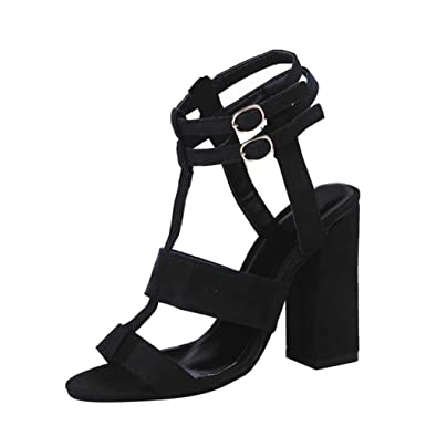 ee2c91d92b409 Clearance Sale!OverDose Fashion Women Ladies Sandals Ankle High Heels Block  Party Open Toe Shoes