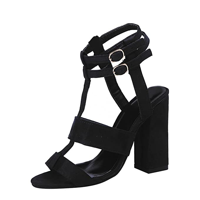 05c7b4f59a2 Clearance Sale!OverDose Fashion Women Ladies Sandals Ankle High Heels Block  Party Open Toe Shoes  Amazon.co.uk  Clothing