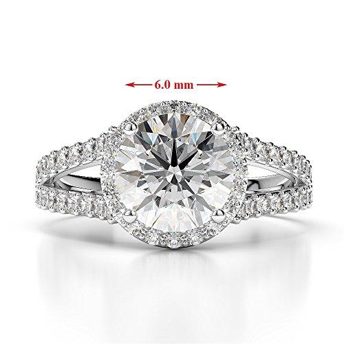 G-H/VS 1CT Coupe ronde sertie de diamants Grenat et bague de fiançailles en platine 950Agdr-1220