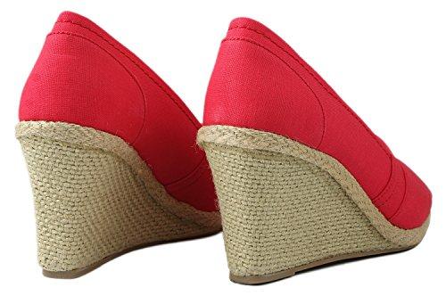 Le Donne Peep Toe Comfort Mid Cuneo Tallone Pompe Di Vestito Naturale Natural_t-28