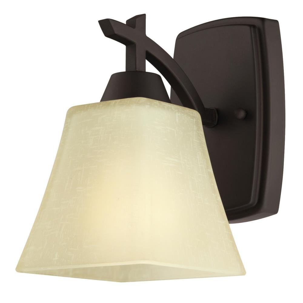 Westinghouse Lighting 6307300 Midori One-Light Indoor Wall Fixture, Oil Rubbed Bronze Finish with Amber Linen Glass