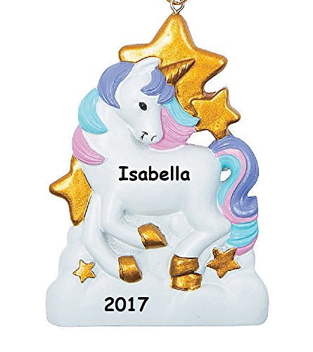 Personalized Unicorn Christmas Tree Ornament with Your Choice of Name and Year