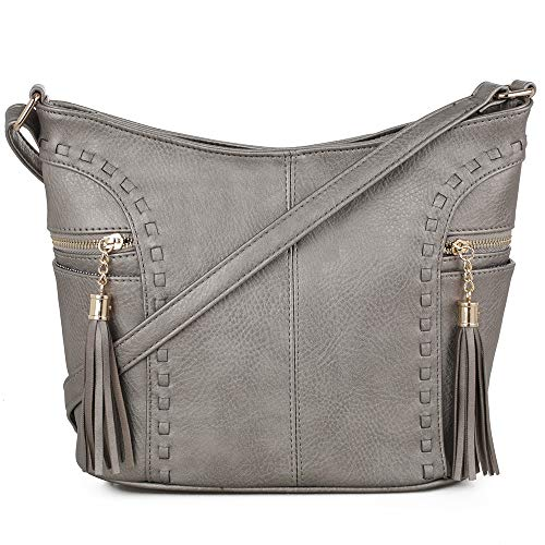 DELUXITY | Crossbody Hobo Slouch Bucket Purse Bag | Side Pockets with Tassel | Adjustable Strap | Metallic ()