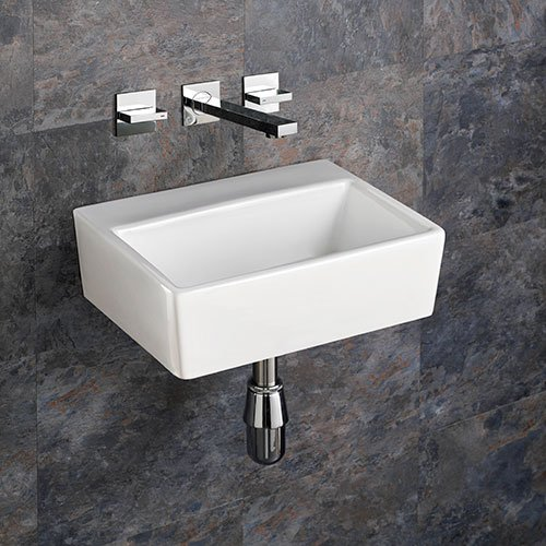 Clickbasin Nice Wall Mounted 38.5cm X 30cm No Tap Hole Rectangular Ceramic Sink