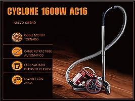 Cyclone Aspirador multiciclónico sin Bolsa AC16 Turbo 1600W Lila: Amazon.es: Hogar