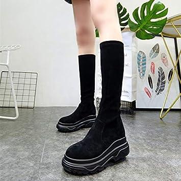 Shukun Botines Botas de cuña de Plataforma Negra con Cabeza Redonda de otoño Botas Martin Botas de Moto Botas elásticas Calzado de Mujer: Amazon.es: ...