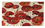 Manual Woodworkers & Weavers Dobby Bath Rug, 4 by 6-Feet, Bold Poppies