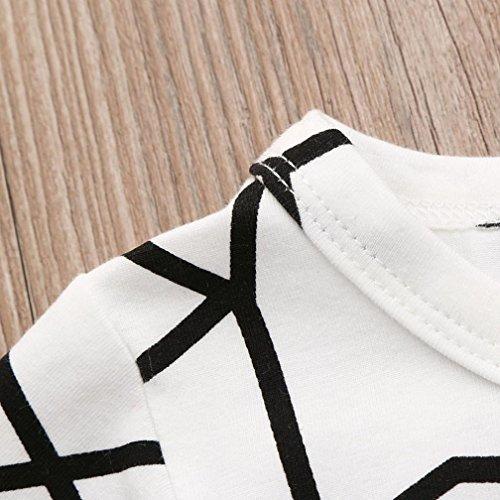 Omiky® Kleinkind-Säuglingsbaby-Geometrie-Druck-Kurzschluss-Hülsen-Spielanzug-Playsuit-Kleidung Weiß