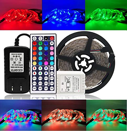 Lightimes LED Strip Lights,Strip Lights, 16.4ft 300leds 5m Waterproof Adhesive Light Strips RGB Color Changing SMD 3528 Ribbon Kit with 44key Remote with Power Supply