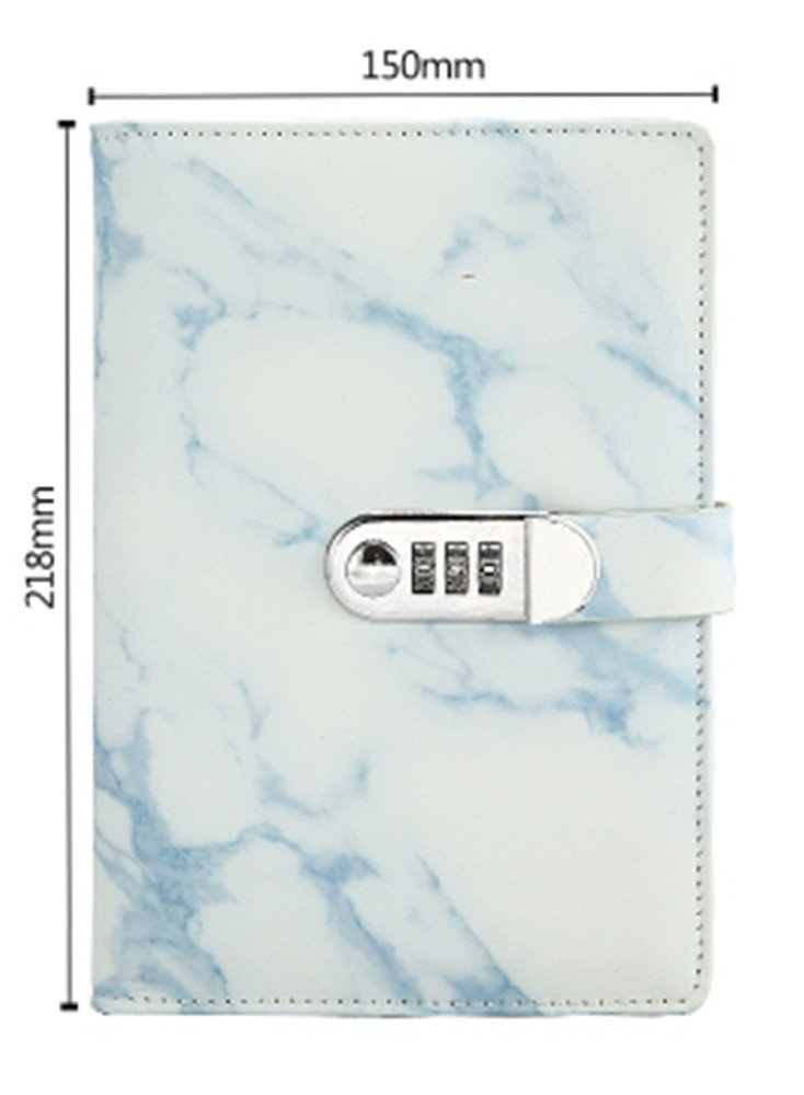 A5 Marble Pattern PU Leather Password Lock With Diary Combination Lock Password Journal Student Stationery Office Notepad (Blue)
