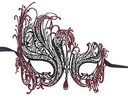 Luxury Mask Women's Swan Metal Filigree Laser Cut Venetian Masquerade Mask, Black/Red Glitter, One Size ()