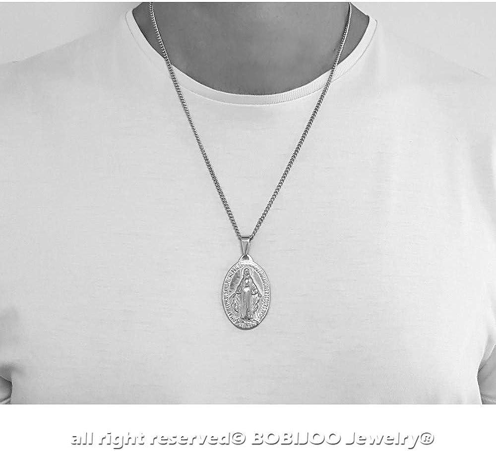 BOBIJOO JEWELRY Grand Pendentif 4cm Homme M/édaillon Vierge Miraculeuse Marie Acier Argent/é Cha/îne