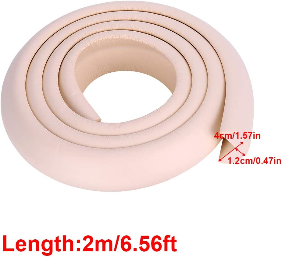 2M DIY Thicken Table Edge Guard Protectors Baby Kids Security Desk Fireplace Countertop Pre-Taped Corners Widen Strip Cushion for Room Decor Beige Bumper Strip