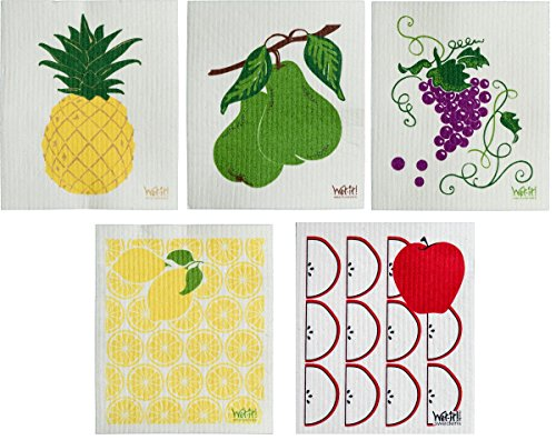 Wet Cloth (Wet-It Fruit Collection Swedish Dishcloth Set of 5)