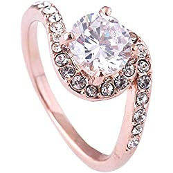 Acefeel Charming Zircon Twisted Promise Engagement Weeding Ring Valentine's Day Gift Size 8