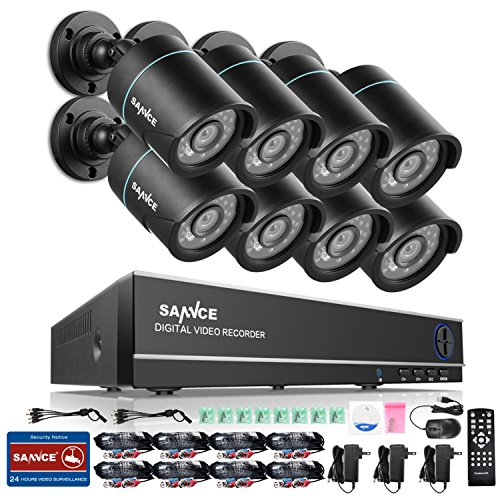 Sannce 8CH Full 960H CCTV DVR Recorder and (8)HD 800TVL Security Cameras with Day/Night Vision, IP66 Weatherproof, Motion Detection, NO HDD
