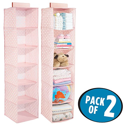 mDesign Soft Fabric Over Closet Rod Hanging Storage Organizer with 6 Shelves for Child/Kids Room or Nursery - Polka Dot Pattern, Light Pink with White Dots, Pack of 2