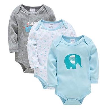 d5ef56c79b8f Amazon.com  Newborn Baby Cotton Long Sleeve Rompers Set Toddle Boys ...