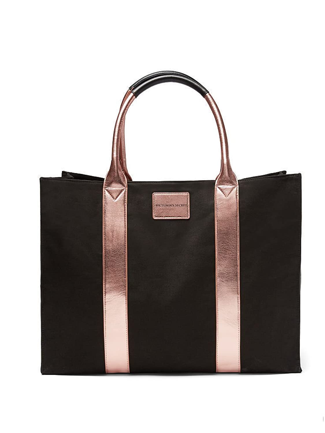 5c22322b9408cd NEW VICTORIA'S SECRET BLACK & ROSE GOLD TOTE STANDING TRAVEL BAG OVERSIZED  HUGE BAG