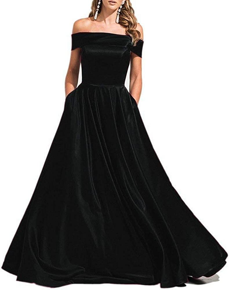74f325639da MKbridal Women's Off Shoulder Satin Evening Bridesmaid Party Gown A Line  Prom Bridesmaid Dress with Pockets. Back. Double-tap to zoom