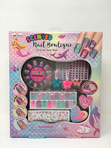 Hot Focus Scented Nail Boutique – Mermaid 168+ Nail Art Kit Includes 2 Nail Polishes, 12 Press On Nails, Nail Patches, Nail Stickers, Nail File & Ring. Non from Hot Focus