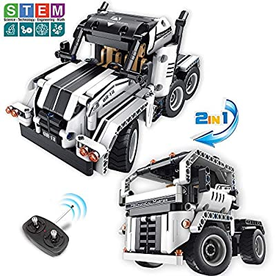 STEM Building Toys for Boys & Girls | 2 in 1 Remote Control Building Kit | Build a Semi -Truck/Cab Over | Early Learning Technic Building Blocks RC Kit | Best Gift for 7-12 Years Old Kids: Toys & Games