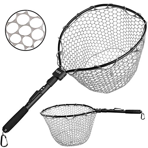 PLUSINNO Fly Fishing Net Fish Landing Net, Trout Bass Net Soft Rubber Mesh Catch and Release Net(27