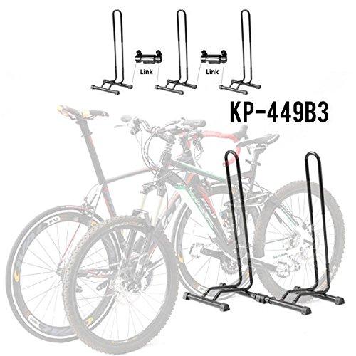 Adjustable 3 Bike Floor Parking Rack Storage Stand Bicycle