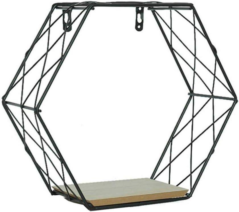 Fanville Sechseckige Geometrische Eisengitter Wandregal Mode Wandbehang Abbildung Wanddekoration f/ür Wohnzimmer Wandhalterung Rahmen Schwimm Regale