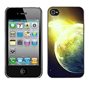 Qstar Arte & diseño plástico duro Fundas Cover Cubre Hard Case Cover para Apple iPhone 4 / iPhone 4S / 4S ( Sun Star Space Cosmos Explosion Planets Art)