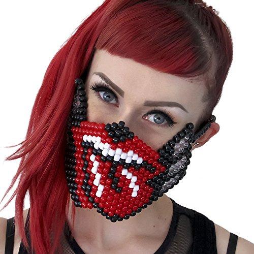 """Masque Kandi """"Rolling Stones"""" - Kandi Gear, masque pour rave party, masque pour Halloween, masque de perle pour festivals de musique et fêtes"""