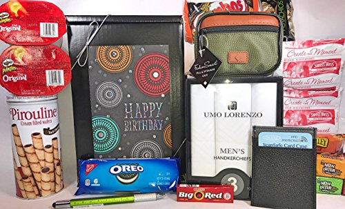 Men's Birthday Gift Box Basket II Prime - Send Happy Birthday Wishes to Friend Dad Grandpa Brother With These 4 Macho Gifts and 17 Delicious Treats Today! (Birthday Gift Baskets Dad)