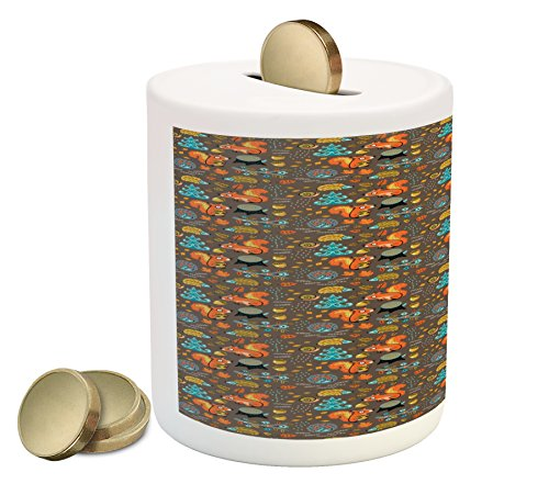 Printawe Doodle Coin Box Bank, Squirrel Hedgehog Walnut Pine Trees Slug Children Woodland Theme Playroom Dream, Printed Ceramic Coin Bank Money Box for Cash Saving, Multicolor