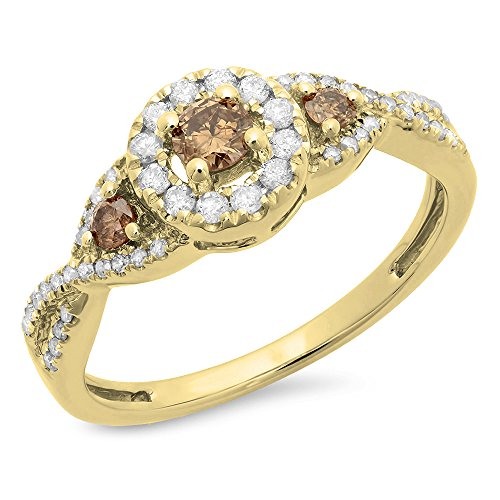 Dazzlingrock Collection 0.50 Carat (ctw) 10K Champagne & White Diamond Bridal Engagement Ring 1/2 CT, Yellow Gold, Size 6.5