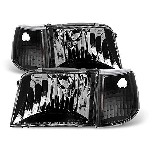 ACANII - For [4PC] Black 1993-1997 Ford Ranger Headlights Corner Turn Signal Lamps Driver + Passenger Side
