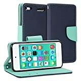 iPod touch 6 Case, GMYLE Wallet Case Classic for iPod touch 6th generation - Navy Blue & Mint Green PU Leather Slim Stand Case Cover
