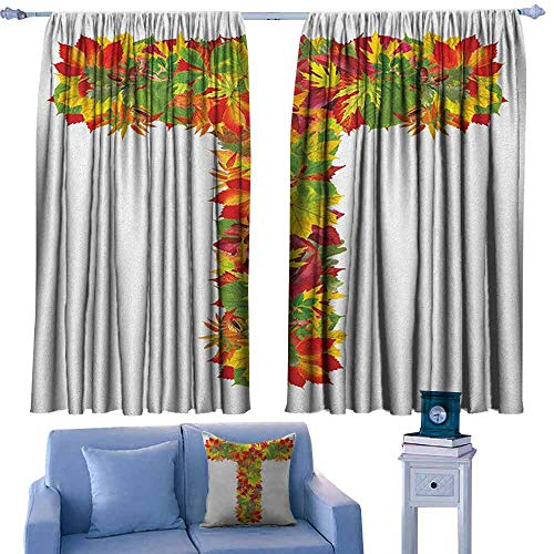 Mannwarehouse Letter T Printed Insulation Curtain Uppercase T Name Alphabet Symbol with Bunch of Shaded Fall Oak Tree Leaves Season Suitable for Bedroom Living Room Study, etc.63 Wx45 L Multicolor