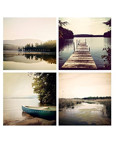A Rustic Lake home decor photography set of 4 photos, wall decor set of nature pictures by semi sweet studios