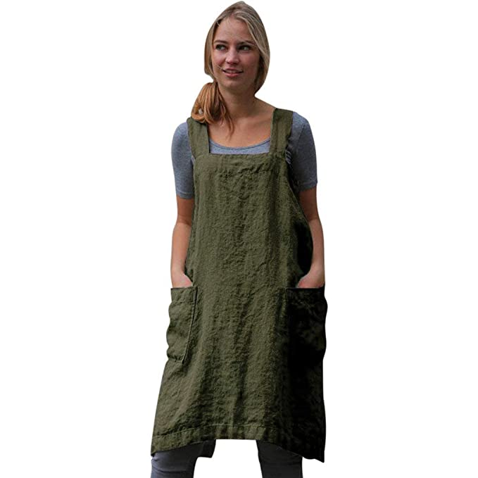 c9a8db41beb ... Solid Apron Dress Cotton Linen Pinafore Garden Work Pinafore Dress for  Women Sleeveless Loose Oversized Dress Shirt with Pockets  Amazon.co.uk   Clothing