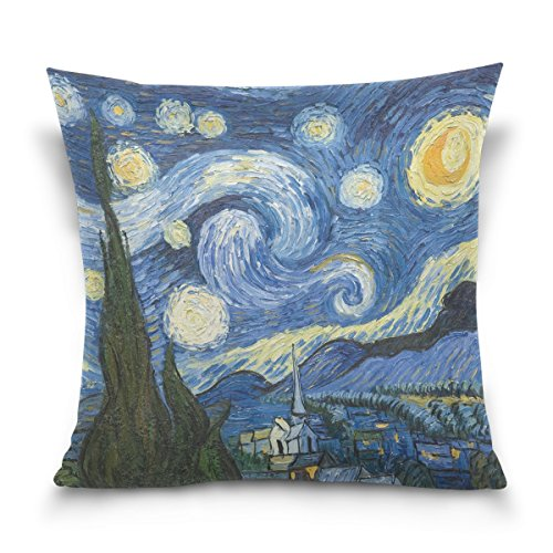 My Daily Starry Night Van Gogh Oil Painting Square Throw Pillow Case Cotton Velvet Cushion Cover 16x16 inch