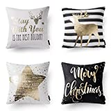 """Phantoscope Set of 4 Decorative 100% Cotton New Merry Christmas Series Black and Golden Deer Letter Star Throw Pillow Cushion Cover 18"""" x 18"""" 45 x 45 cm"""