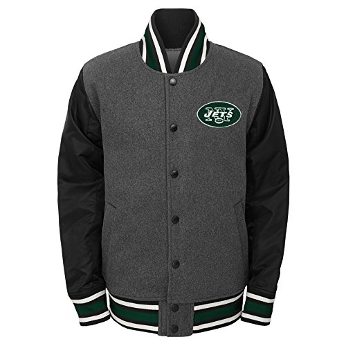NFL New York Jets Youth Boys Letterman Varsity Jacket Charcoal Grey, Youth Large(14-16)