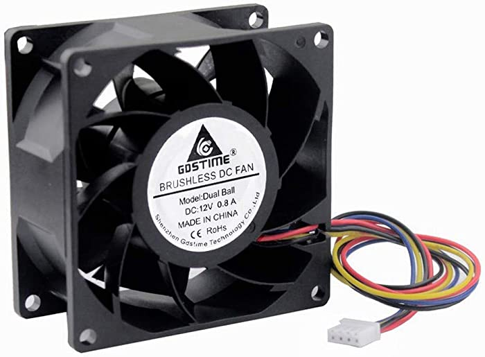 GDSTIME 80mm x 38mm 8038 PWM High Speed Dual Ball Bearing DC 12V 80mm Cooling Fan