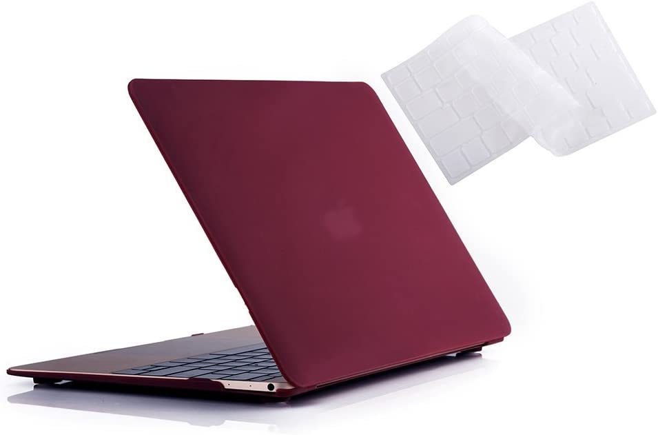 RUBAN MacBook 12 Inch Case Release (A1534) - Slim Snap On Hard Shell Protective Cover and Keyboard Cover for MacBook 12, Wine RED