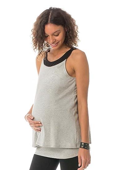 177f81bbce Majamas Oakley Maternity Nursing Double Layer Tank Top - Pebble(Light Grey)  - Small