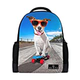 Dog Sunglasses Printed Laptop Backpack High School Bookbag Casual Travel Daypack