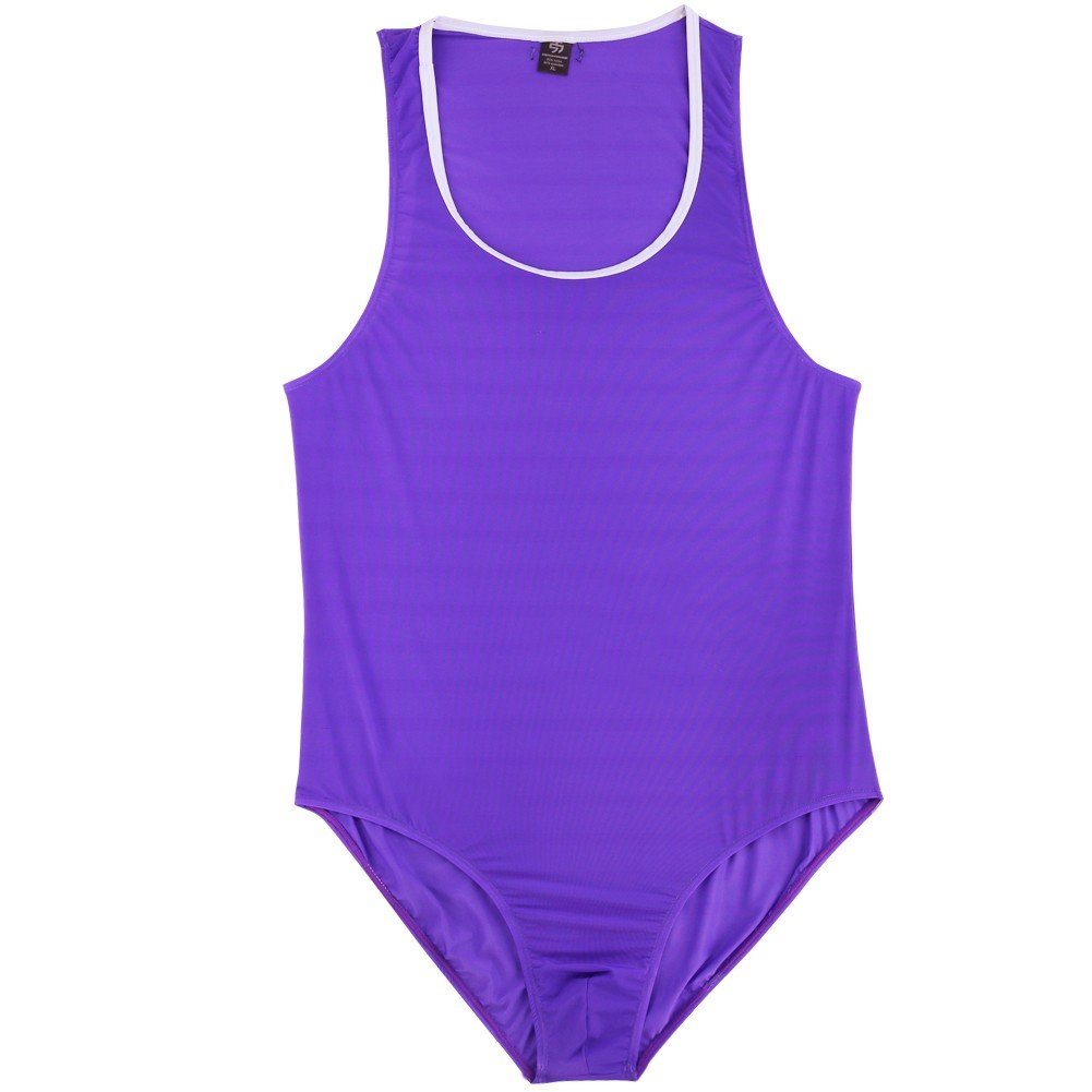 dPois Mens Stretchy Soft Sleeveless High Cut One-Piece Wrestling Singlet Leotard Bodysuit Purple X-Large(Waist: 32.0-47.0''/82-120cm)
