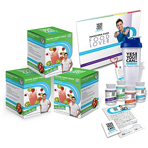 Yes You Can! Diet Plan Transform Kit Food Lover Basic: 30 Fat Burner Pills, 30 Appetite Suppressant Pills, 30 Colon Cleanser Pills, 30 Collagen Pills, (Kiwi Berry, 30 Protein Shakes) by Yes You Can!TM Diet Plan