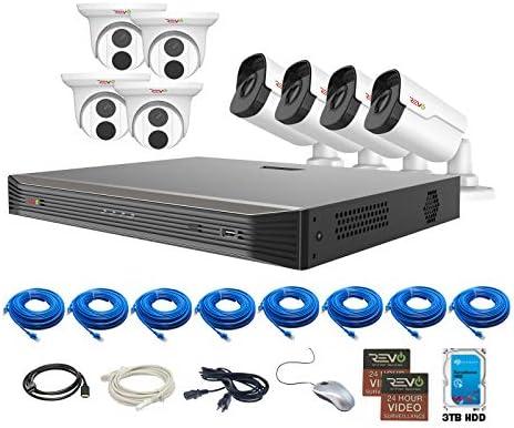 REVO America Ultra 3TB HDD 8 Cameras 16 CH IP Video Surveillance System, Black White RU162T4IB4I-3T