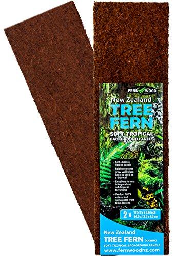Fernwood Tree Fern Panels, Regular Size, 17.5″ x 5″, Twin Pack for Vivarium, Terrarium, Drip Walls, Pets and Substrate